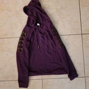 Venus Grommet Sleeve Hooded Pullover Sweatshirt